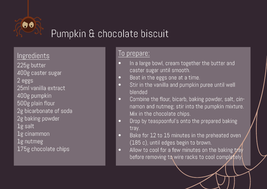 Pumpkin & chocolate biscuit recipe card