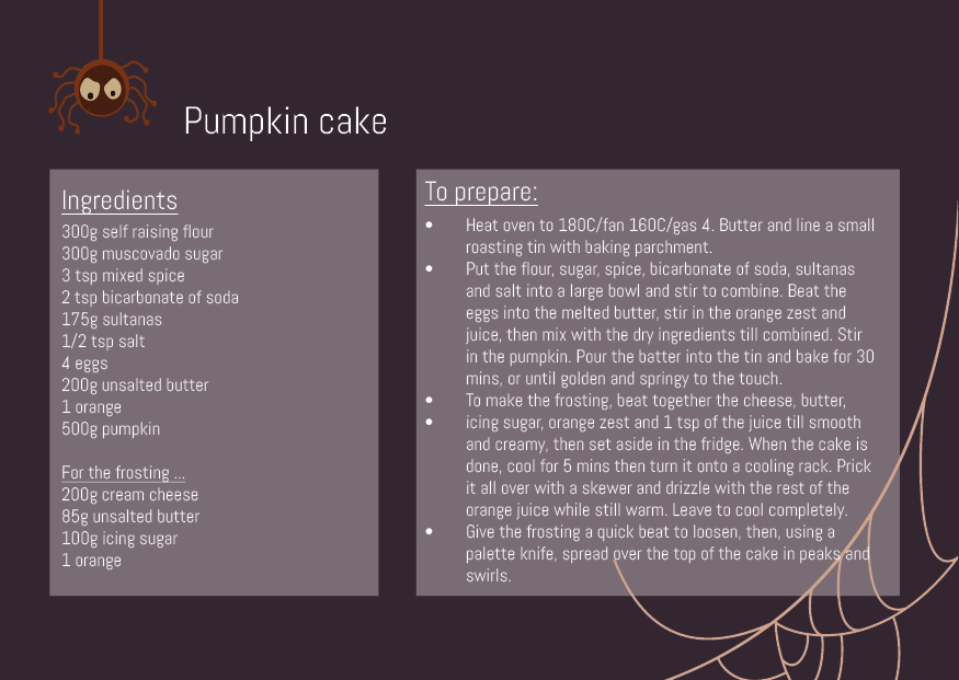 Pumpkin cake recipe card