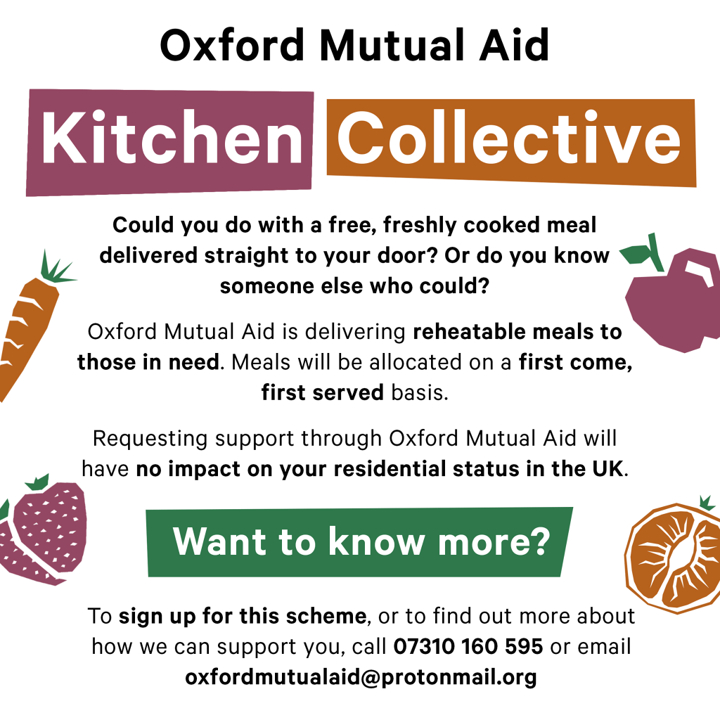 Oxford Mutual Aid Kitchen Collective flyer